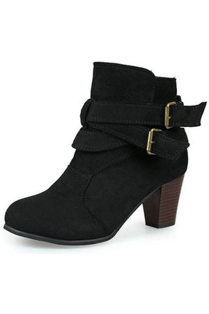 Newchic Women Ankle Boots - Warm Female Suede Sexy Square Heel Pure Colour Ankle Buckle Boots