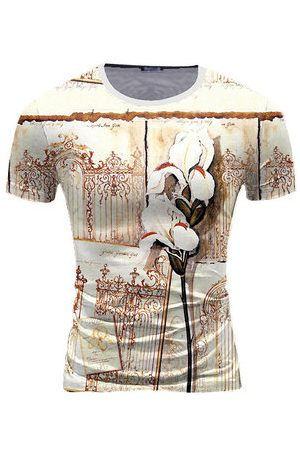 Newchic Mens Summer Ice Silk Sport Tops Special Printed O-neck Short Sleeve Casual T-shirt