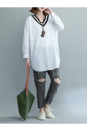 Newchic Casual V Neck Long Sleeves White Shirt For Women