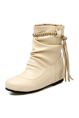 Newchic Tassel Slip On Pure Color Short Boots