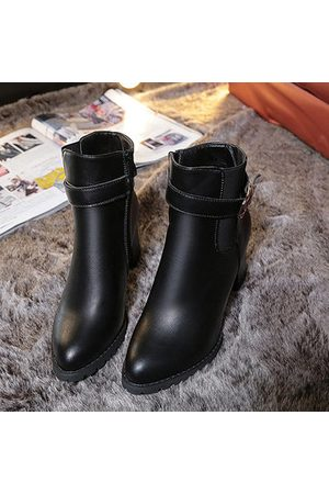 Newchic Sexy Square Heel Buckle Solid Color Pointed Toe Zipper Boots For Women