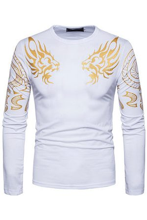 Newchic Men Long Sleeve - Spring Fall Printed Long Sleeve Casual T-shirt for Men