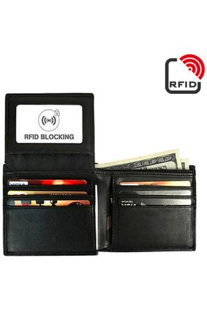 Newchic RFID Antimagnetic Genuine Leather Trifold Wallet 9 Card Slots Casual Vintage Card Pack For Men