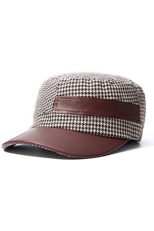 Newchic Mens Women Tweed PU Patchwork Lattice Flat Top Hat Casual Flexible Visor Hats