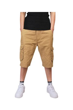 Newchic Mens Multi-pocket Knee Length Cargo Shorts Casual Cotton Beach Shorts