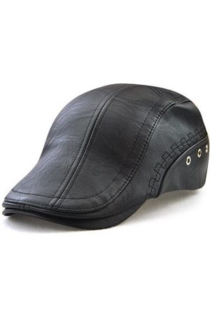 Newchic Mens PU With Ventilation Holes Beret Hat Casual Warm Solid Embroidery Forward Caps Adjustable