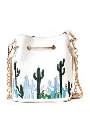 Newchic Cacti Pattern Phone Bag String Bucket Bag Chain Shoulder Bags For Women