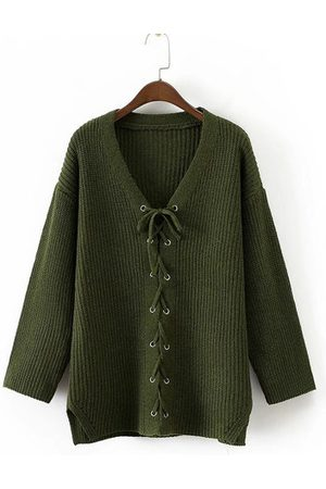 Newchic Women Long Sleeve V-Neck Lace Up Knitted Sweaters