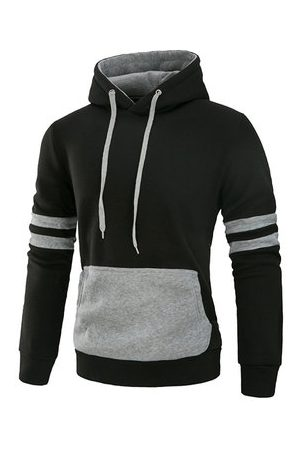 Newchic Mens Casual Cotton Hoodies Stylish Stiching Color Front Big Pocket Sport Hooded Tops