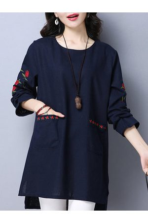 Newchic Women Long Sleeve - Ethnic Embroidery Cotton Linen T-Shirts