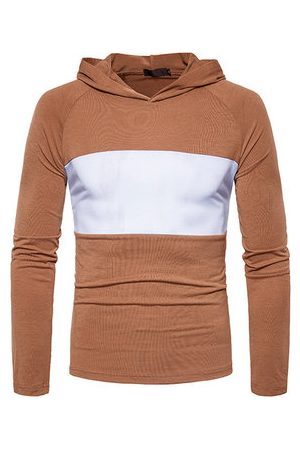 Newchic Mens Patchwork Hit Color Pullover Casual Hoodies