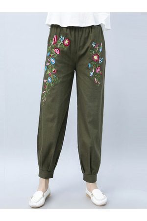 Newchic Casual Loose Vintage Embroidery Elastic Waist Women Harem Pa