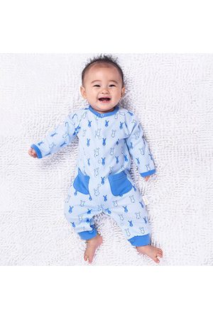 Newchic TUBENG Baby Rabbits Print Pockets Button Crawling Rompers