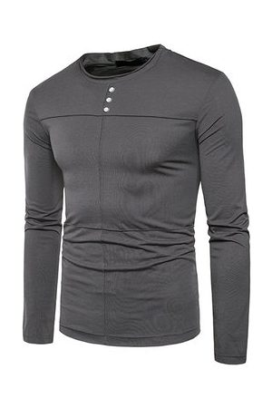 Newchic Mens Spring Fall Brief Style Solid Color Casual T-shirt
