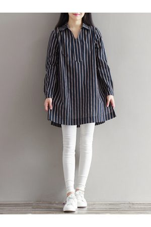 Newchic Lapel Striped Printed Long Sleeves Shirt