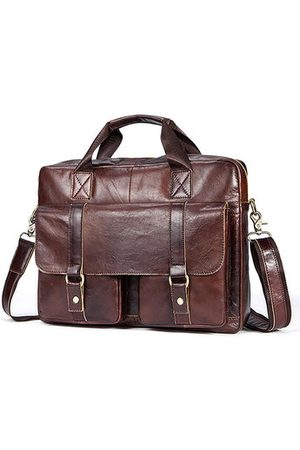Newchic Genuine Leather Business Briefcase Crossbody Bag For Men