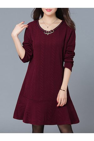 Newchic Embossed Ruffles Hem Dress