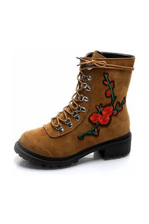 Newchic Floral Embroidery Ankle Boots