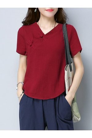 Newchic Folk Style Tops, Solid V-Neck Short Sleeve Tops