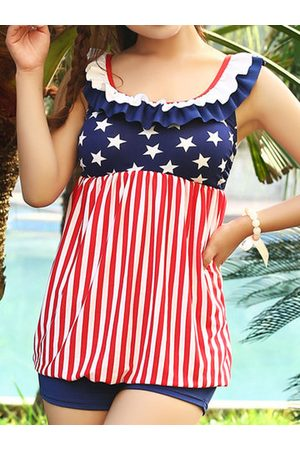 Newchic Women Tankinis - American Flag Stripe Swimdresses