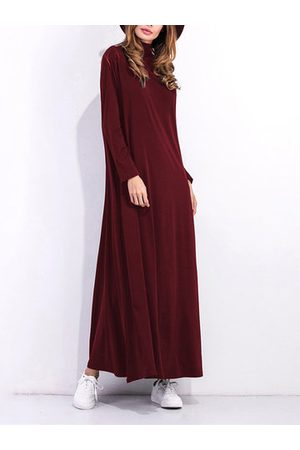 Newchic Casual Solid Turtleneck Maxi Dress