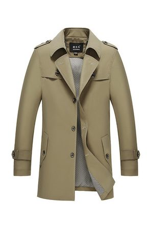 Newchic Men Trench Coats - Business Casual Single-breasted Trench Coat for Men