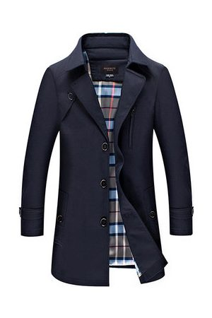 Newchic Mens Business Casual Single-breasted Trench Coat