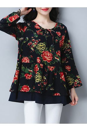 Newchic Autumn Vintage Ethnic Loose Print T-Shirts