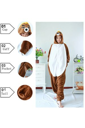 Newchic Footed Pajama Cartoon Cosplay Night Wear Unisex Sleepwear