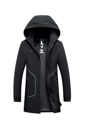 Newchic Business Casual Black Hooded Trench Coat for Men
