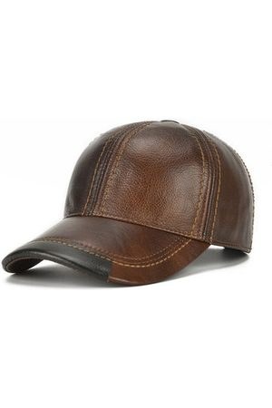 Newchic Mens Cowhide Leather Baseball Cap