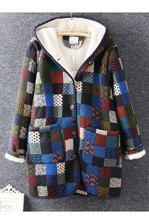 Newchic Plaid Printed Winter Thicken Coats