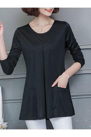 Newchic Loose Pocket Long Sleeves O Neck Shirt
