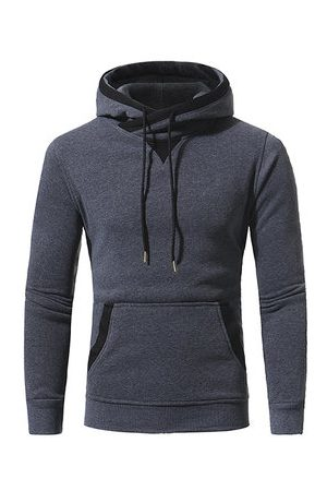 Newchic Mens Solid Color Casual Sport Hooded Tops