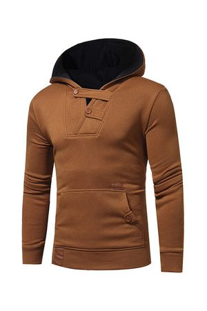 Newchic Mens Hit Color Hoode Splicing Leather Cotton Soprt Hoodies