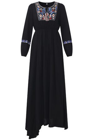 Newchic Folk Style Embroidery Tie Maxi Dresses