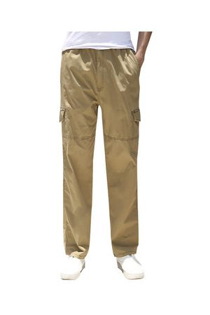 Newchic Men Cargo Pants - Casual Loose Solid Cotton Cargo Pants for Fat Men
