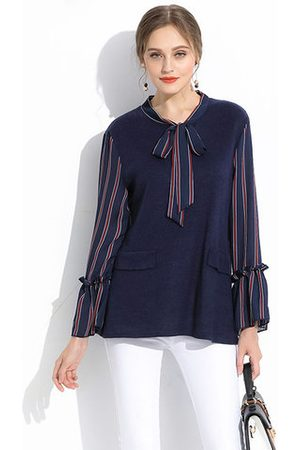 Newchic Women Blouses - Striped Stitching Bow Tie Trumpet Sleeve Blouse