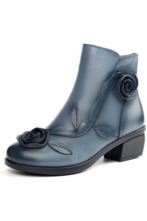 Newchic Women Boots - SOCOFY Retro Rose Leather Boots