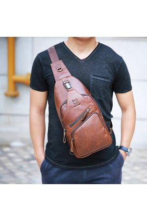 Newchic Bullcaptain Men Casual Leather Chest Bag