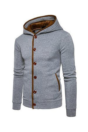 Newchic Buttons Design Single Breated Casual Hoodies