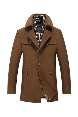 Newchic Men Trench Coats - Mens DetachableS carf Casual Trench Coat