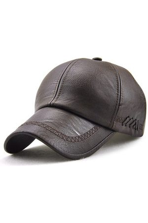 Newchic Men Caps - Mens Outdoor PU Leather Baseball Caps