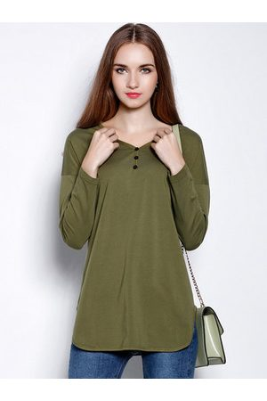 Newchic Casual V-neck Irregular Hem Long Sleeves Shirt