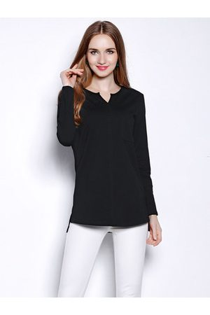Newchic Casual Solid Color V-neck Long Sleeves Shirt