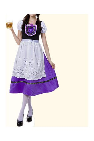 Newchic Women Slips - Beer Traditional Embroidery Drawstring Long Dress Maid Cosplay Costume For Women
