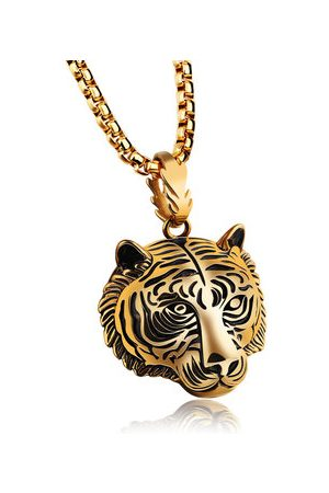 Newchic Men Necklaces - Men's Stainless Steel Tiger Necklace