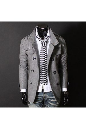 Newchic Men Trench Coats - Mens Double Breasted Stand Collar Trench Coat