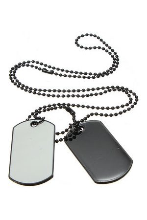 Newchic Men Necklaces - Army Style White Black 2 Dog Tag Necklace