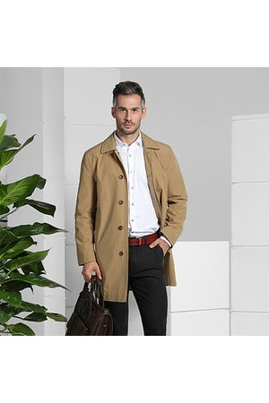 Newchic Mens Casual Turn-down Collar Slim Fit Overcoat Trench Coat